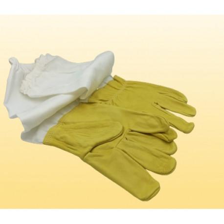 Luva em Couro Amarelo e Punho em Tecido